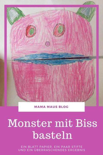 DIY Monster mit Biss mit Kindern basteln - alles war ihr dafür benötigt ist ein Blatt Papier, ein paar Stifte und heraus kommt eine überraschende Idee, die Kinder begeistert #DIY #basteln #bastelnmitkindern
