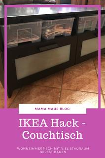 IKEA Hack - Couchtisch aus Brimnes TV-Bank bauen, mehr Stauraum im Wohnzimmer schaffen #ikeahack #couchtisch #ordnung