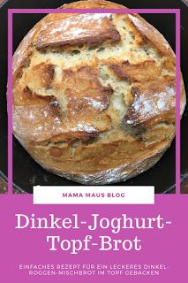 Dinkel-Joghurt-Topf-Brot, Einfaches Rezept für ein leckeres Dinkel-Roggen-Mischbrot im Topf gebacken #Rezept #Brot #Topfbrot #Dinkel #Roggen #Joghurt