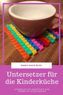 #DIY Untersetzer für die Kinderküche mit Kindern basteln - Kinderleichte Anleitung zum Weben mit Bügelperlen #basteln #kinder #kinderküche #bügelperlen