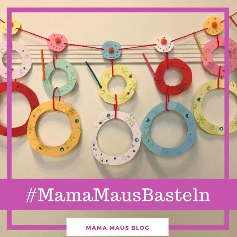 #MamaMausBasteln für Kinder – Schneemann – Schneemann-Girlande aus Notizzetteln