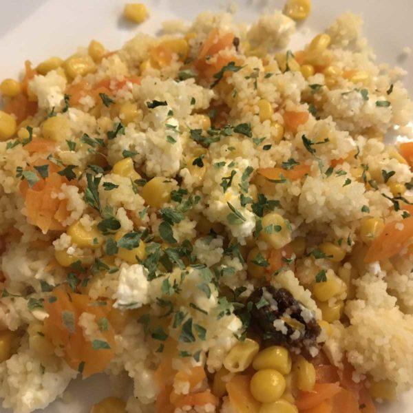 Couscous mit Gemüse, Feta und Feigen