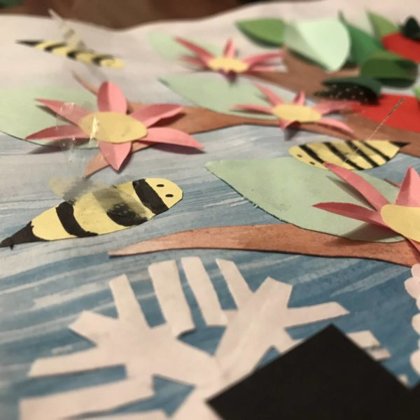 Jahreszeitenbaum - Bienen mit durchsichtigen Flügeln