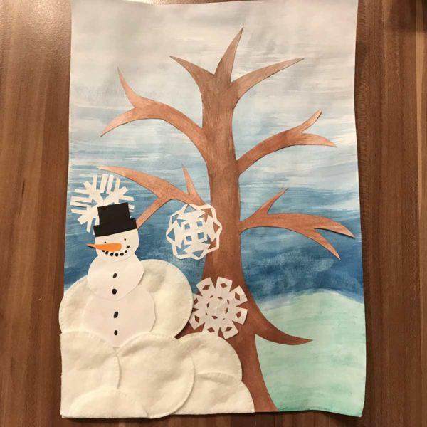 Jahreszeitenbaum - Winter mit Schneemann und Schneeflocken