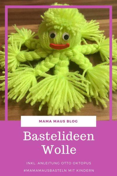 Kinderleichte Anleitung für um einen Oktopus aus Wolle mit Kindern basteln zu können, dazu benötigt man nur Wolle und etwas Dekoration für das Gesicht #DIY #basteln