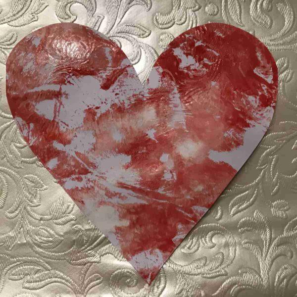 Karte für Valentinstag - marmoriertes Herz