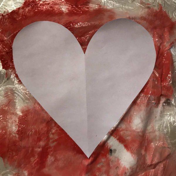 Karte für Valentinstag - Herz marmorieren