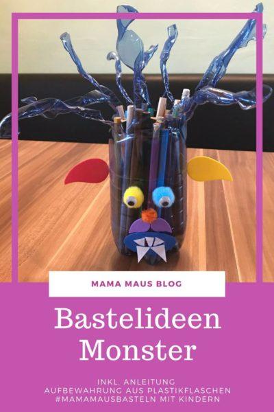 #DIY Aufbewahrung aus Plastikflaschen - Ein Monster als Stiftaufbewahrung fürs #Kinderzimmer #bastelnmitKindern #Basteln #Kinder #Monster #upcycling