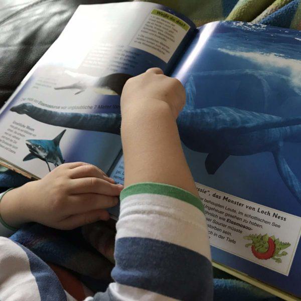 Bücher mit krankem Kind anschauen
