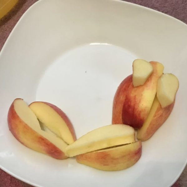 Picknick für Kinder mit Apfel-Raupe