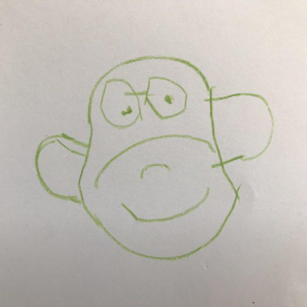 Ein Affe gemalt vom Dreijährigen