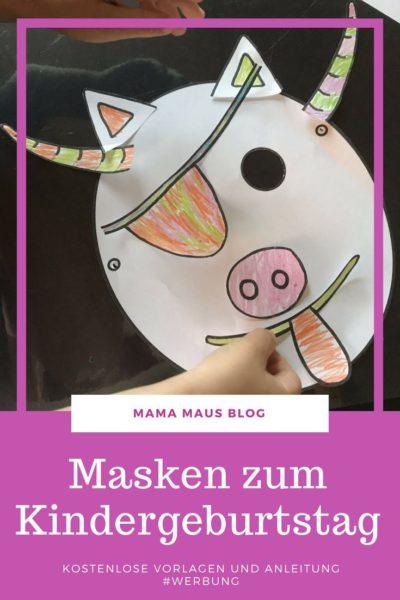 Masken zum Kindergeburtstag - Anleitung und kostenlose Vorlagen #DIY #Basteln #Kinder #Kindergeburtstag #Werbung