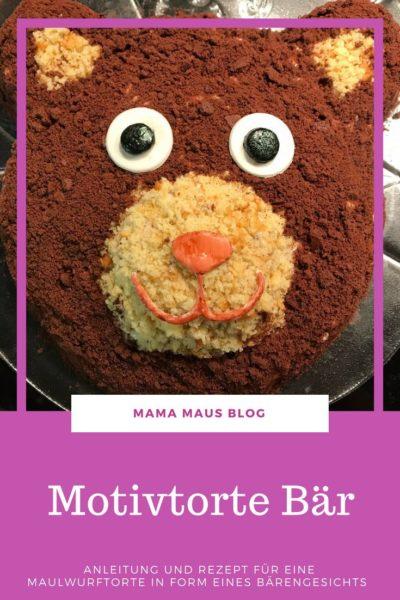 Anleitung und Rezept für eine Motivtorte Bär zum Kindergeburtstag #Motivtorte #Kindergeburtstag #Bär #Rezept