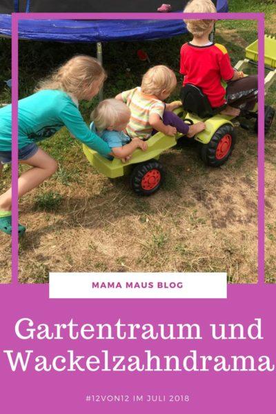 12 Bilder unsers Ferientages. Vier Kinder im Ferienmodus mit Gartentraum und Wackelzahndrama. #Großfamilie #Familienleben #Schulferien