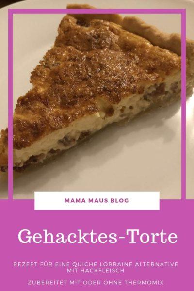 Rezept für Gehacktes-Torte mit oder ohne Thermomix zubereitet. Eine Quiche Lorraine Alternative mit Hackfleisch zubereitet in weniger als einer Stunde. #Rezept #Thermomix #Quiche #Quichelorraine #Hackfleisch