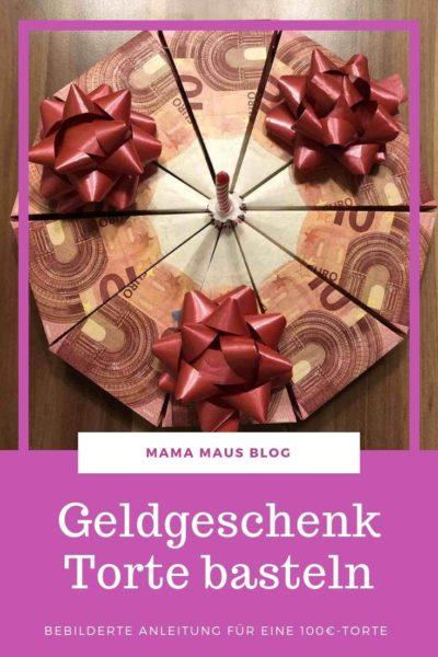 Geldgeschenk Torte basteln, Anleitung für eine 100 Euro Torte #Basteln #DIY #Geldgeschenk #Torte #Geldfalten #Geburtstagsgeschenk #Geschenk