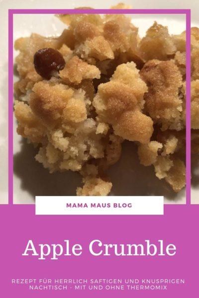 Rezept für Apple Crumble mit Apfelmus. Saftig, fruchtig und knusprig. Ein Nachtisch der sowohl kalt als auch warm ein echter Genuss ist. #Rezept #Apfel #Nachtisch #Streusel #Crumble #Thermomix