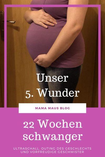 22 Wochen schwanger mit dem fünften Kind. Über den Organultraschall, hübsche Babybilder, das Outing des Geschlechts und vorfreudige Geschwister. #Baby #Schwangerschaft #Outing #22SSW #SSW22 #Großfamilie