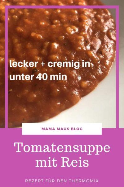 Rezept für Tomatensuppe mit Reis aus dem Thermomix. Ein Lieblingsessen nicht nur für Kinder in 40 Minuten kinderleicht zubereitet. #Rezept #Tomatensuppe #Tomaten #Reis #Thermomix