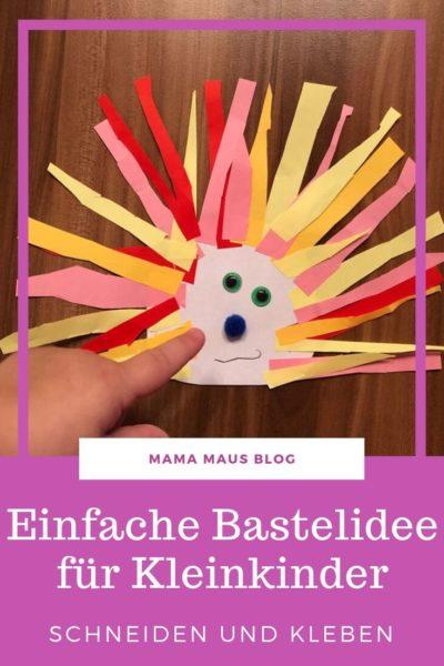 Eine einfache Bastelarbeit für Kleinkinder. Mit wenigen Materialien in kurzer Zeit gebastelt und somit ideal für Kinder ab 2 Jahren. #BastelnmitKindern #BastelnmitKleinkindern #Bastelidee #Bastelanleitung #Igel #Herbst #DIY