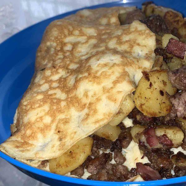Rezept Bauernfrühstück mit Hackfleisch und Rotwurst